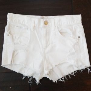 Express white distressed jean shorts